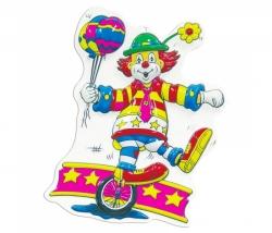 Dekomaske Clown mit Einrad