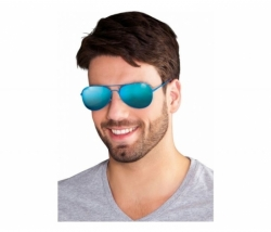 Brille Party Mirrow blau