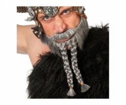 Bart mit Zopf grau Warrior