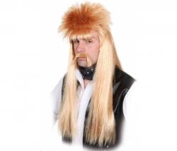 Perücke Manni mittelblond lang mit Bart