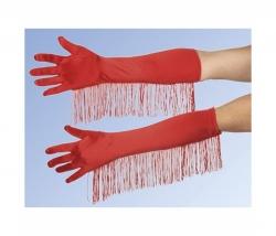 Handschuhe Satin rot mit Fransen
