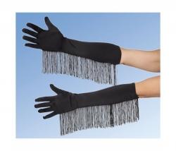 Handschuhe Satin schwarz mit Fransen