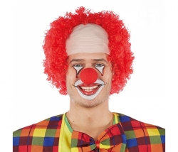 Clown Perücke mit Stirnglatze rot