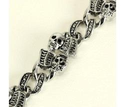 Armband silber Totenköpfe