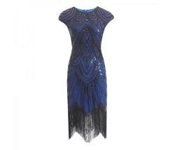 Charleston Kleid blau schwarz Gr. L