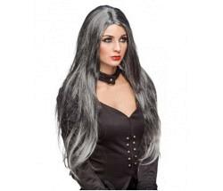 Perücke Gothic grau-schwarz lang