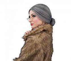 Perücke Oma mit Brille